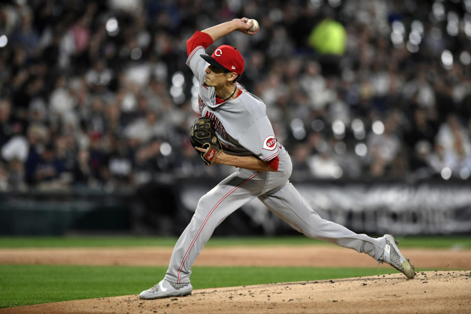 Cincinnati Reds starter Riley O'Brien delivers a pitch during the first inning of a baseball game against the Chicago White Sox Tuesday, Sept. 28, 2021, in Chicago. (AP Photo/Paul Beaty)