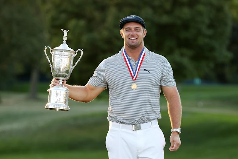 MAMARONECK, NEW YORK - SEPTEMBER 20: Bryson DeChambeau of the United States celebrates with the championship trophy after winning the 120th U.S. Open Championship on September 20, 2020 at Winged Foot Golf Club in Mamaroneck, New York. (Photo by Gregory Shamus/Getty Images)
