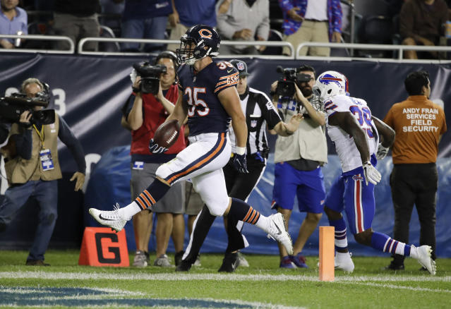 Chicago Bears running back Ryan Nall (35) runs in for a touchdown in front of Buffalo Bills defensive back Siran Neal (29) during the first half of an NFL preseason football game in Chicago, Thursday, Aug. 30, 2018. (AP Photo/Nam Y. Huh)