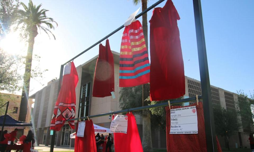 Red skirts are on display at the Arizona State Capitol in Phoenix to raise awareness for missing and murdered Indigenous women and girls