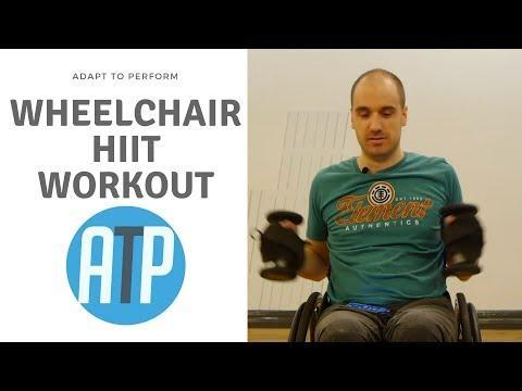 """<p>Ramp it up with Clark's 20-minute wheelchair-based HIIT workout. Follow him through five exercises, repeated four times each, working for 30 seconds and then resting for 30 seconds. Sweat? Guaranteed.</p><p><a href=""""https://www.youtube.com/watch?v=tywMKg1vPMo"""" rel=""""nofollow noopener"""" target=""""_blank"""" data-ylk=""""slk:See the original post on Youtube"""" class=""""link rapid-noclick-resp"""">See the original post on Youtube</a></p>"""