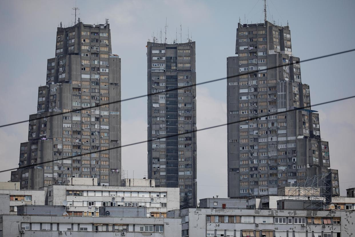 The Eastern City Gate apartment buildings complex stands in the Konjarnik neighborhood in Belgrade, Serbia. Brutalism, an architectural style popular in the 1950s and 1960s, based on crude, block-like forms cast from concrete was popular throughout the eastern bloc. (Photo: Marko Djurica/Reuters)