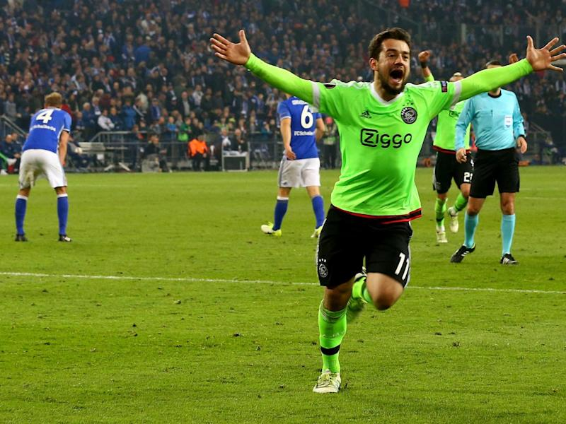 Younes celebrates his vital goal against Schalke (Bongarts/Getty)