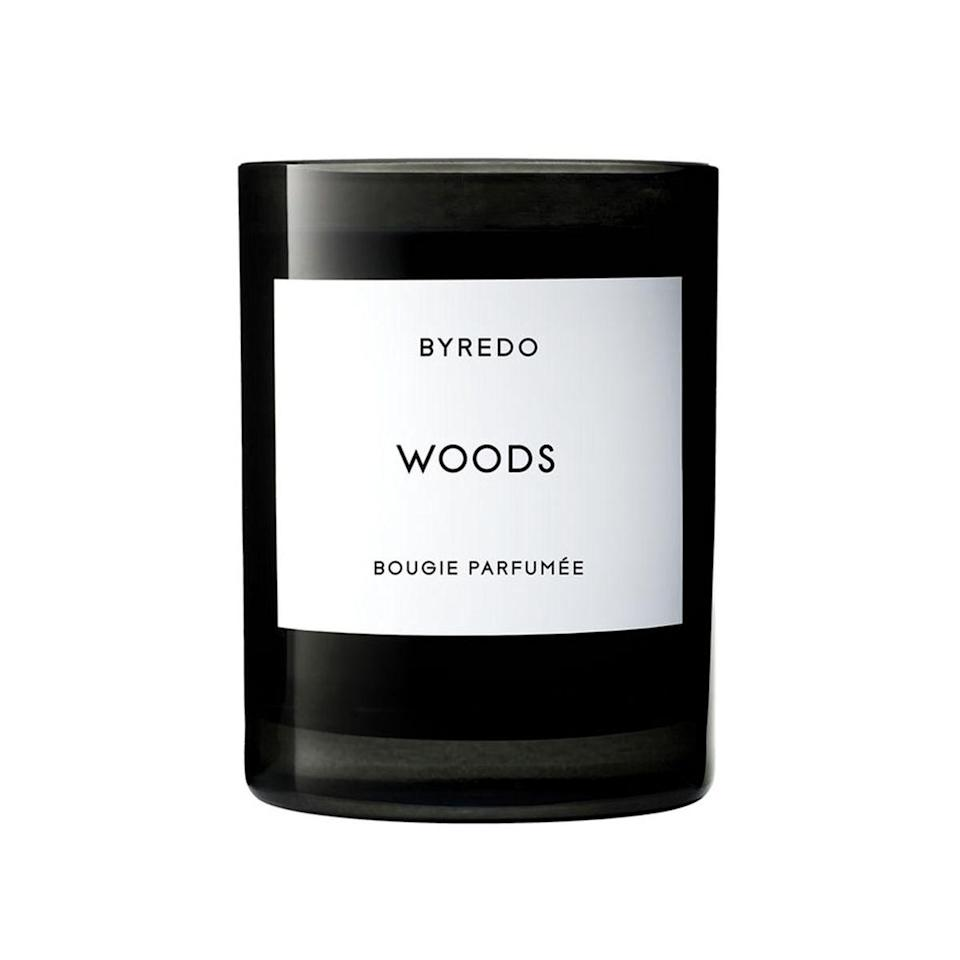 """Inspired by """"a journey through the forest,"""" according to the brand, Byredo's Woods diffuses cedarwood, raspberry, and smoky Tuscan leather, all topped with a few petals of white jasmine."""