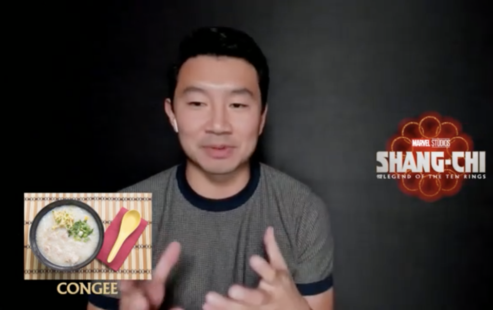 Simu Liu and Ronny Chieng, stars of Shang-chi And The Legend Of The Ten Rings, on what Singaporean dishes they would eat. One of the dishes Simu picked was congee.