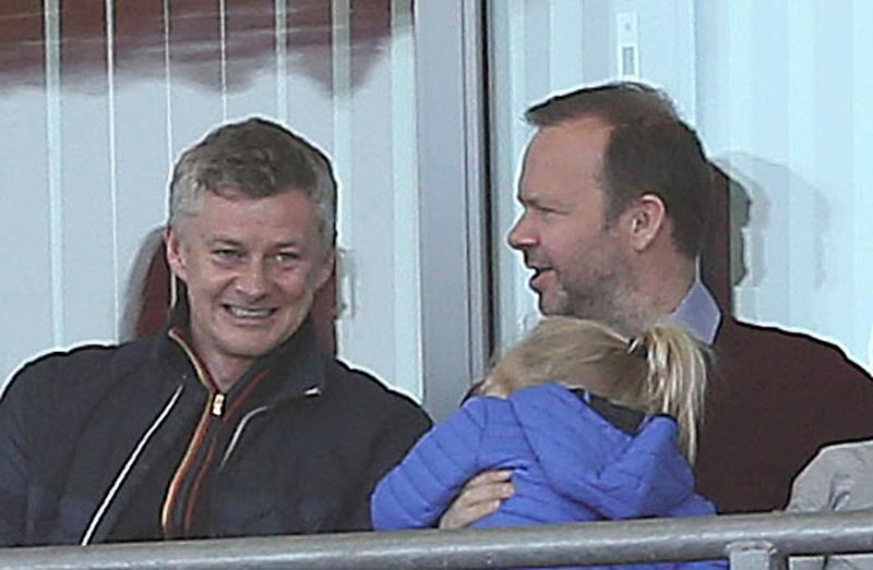 LEIGH, GREATER MANCHESTER - MAY 11: Manager Ole Gunnar Solskjaer and Ed Woodward of Manchester United Women watch from the stands during the WSL match between Manchester United Women and Lewes Women at Leigh Sports Village on May 11, 2019 in Leigh, Greater Manchester. (Photo by John Peters/Manchester United via Getty Images)