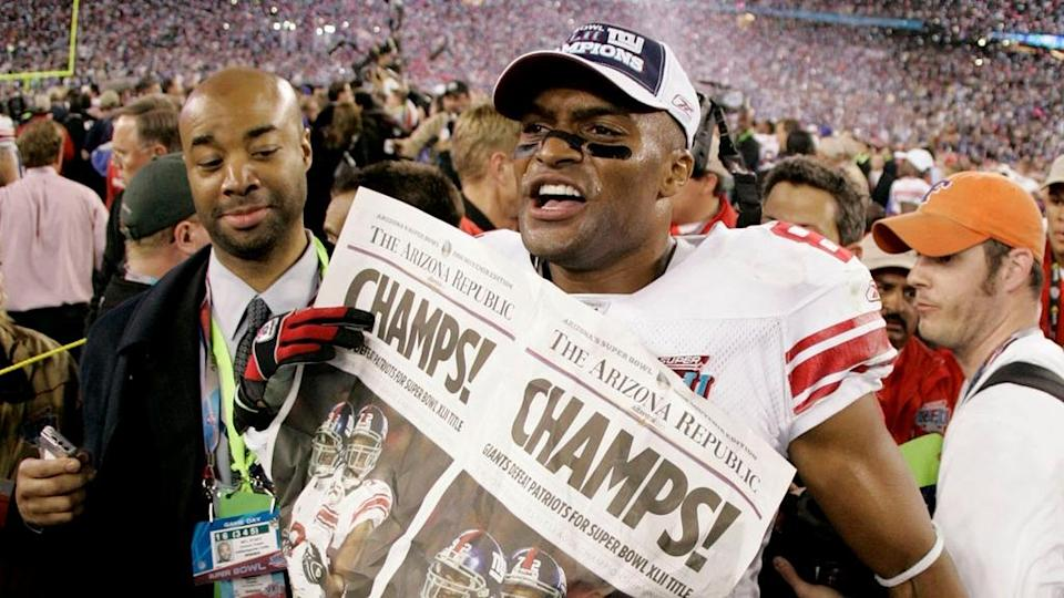 Feb 3, 2008; Glendale, AZ, USA; New York Giants wide receiver Amani Toomer (81) after winning Super Bowl XLII at the University of Phoenix Stadium. New York Giants defeated the New England Patriots with a final of 17-14.