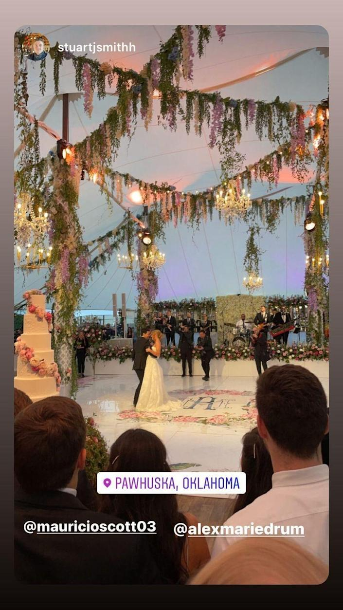<p>The newlyweds took the dance floor for the first time as husband and wife. </p>