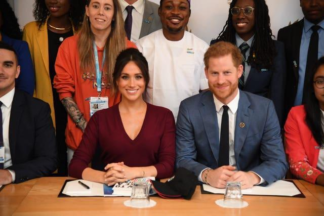 Harry and Meghan at a Queen's Commonwealth Trust event, an organisation they no longer formally represent. Jeremy Selwyn/Evening Standard