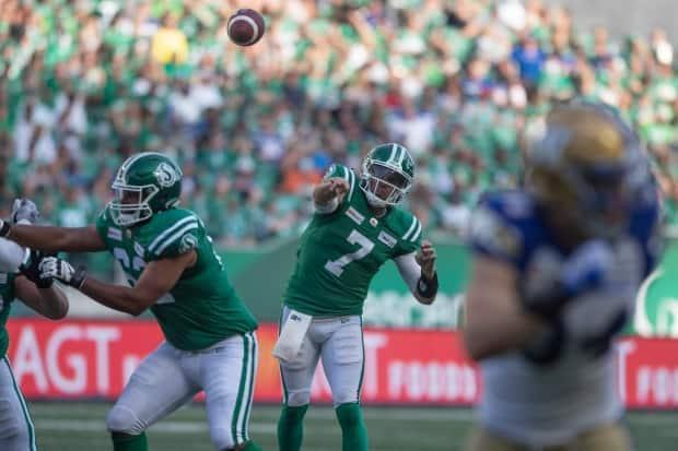 A rare play Cody Fajardo didn't have a Blue Bomber in his face as the Riders' quarterback threw three interceptions in a 23-8 loss to Winnipeg in Sunday's Labour Day Classic. (The Canadian Press - image credit)