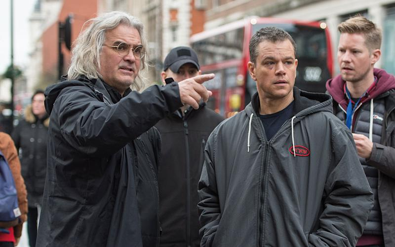 Director Paul Greengrass and actor Matt Damon on the set of 'Jason Bourne' - Credit: Universal Pictures
