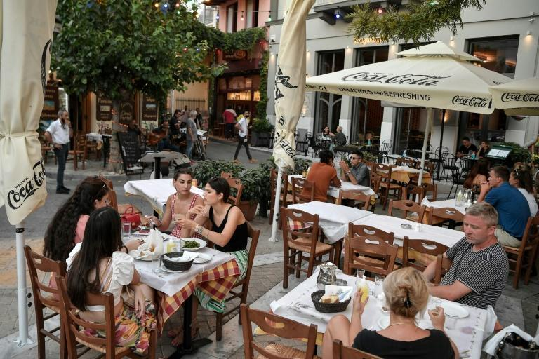With fewer tourists about than usuual it's easier to find a table -- such as at this outdoor restaurant in central Athens
