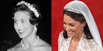 """<p>This tiara was made by Cartier in 1936, and given to the Queen Mother by her husband before their wedding. The Queen Mother gifted Queen Elizabeth II the tiara on her 18th birthday, and its since been worn by Princess Margaret (left) and Duchess Kate—who famously wore it during her wedding to Prince William. The tiara is said to <a href=""""https://www.royalcollection.org.uk/microsites/royalweddingdress/MicroObject.asp?row=4&themeid=2444&item=4"""" rel=""""nofollow noopener"""" target=""""_blank"""" data-ylk=""""slk:feature"""" class=""""link rapid-noclick-resp"""">feature</a> """"739 brilliants and 149 baton diamonds.""""</p>"""
