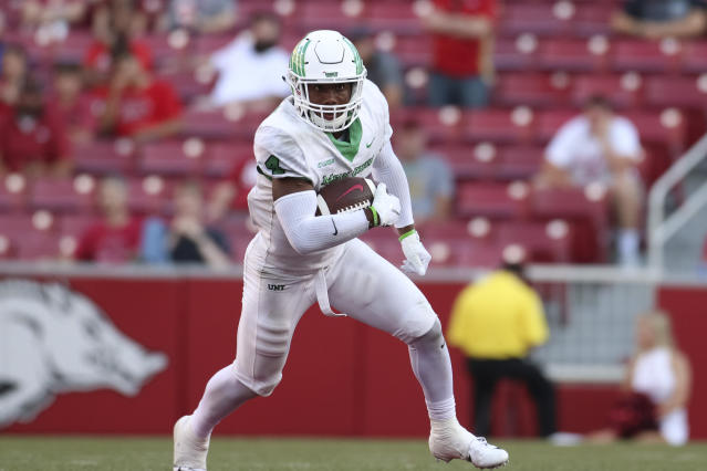 "North Texas safety <a class=""link rapid-noclick-resp"" href=""/ncaaf/players/268417/"" data-ylk=""slk:Khairi Muhammad"">Khairi Muhammad</a> is in hot water after posting a Snapchat video depicting animal cruelty. (Getty Images)"