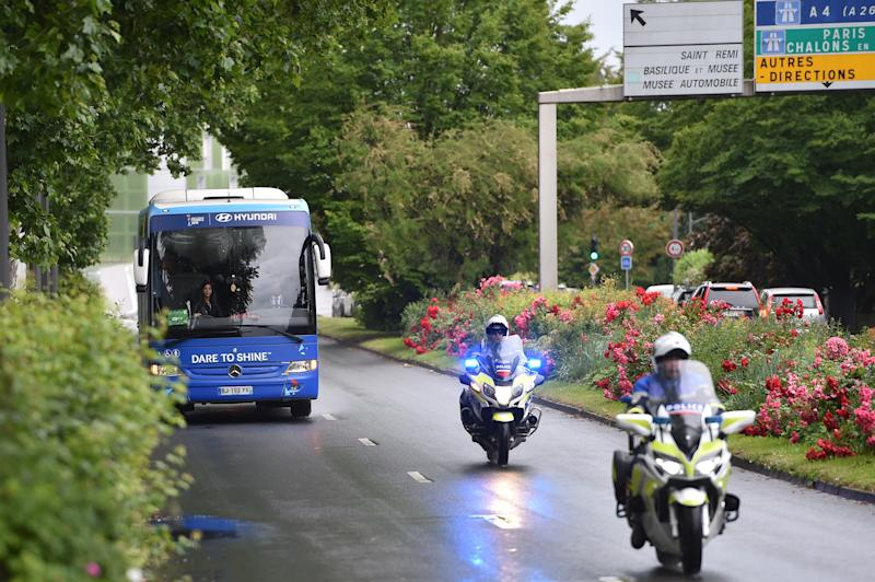 REIMS, FRANCE - JUNE 10: Italy Women bus arrives on June 10, 2019 in Reims, France. (Photo by Tullio M. Puglia/Getty Images)