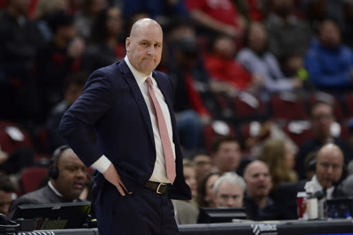 FILE - In this Feb. 23, 2020, file photo, Chicago Bulls head coach Jim Boylen looks on during the first half of an NBA basketball game against the Washington Wizards, in Chicago. The Chicago Bulls fired coach Jim Boylen on Friday, Aug. 14, 2020, as the new front office begins its remake of a team that missed the playoffs again. (AP Photo/Paul Beaty, File)