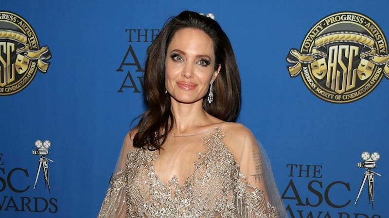 Angelina Jolie Stuns in Glittery Gown at American Society Of Cinematographers Awards
