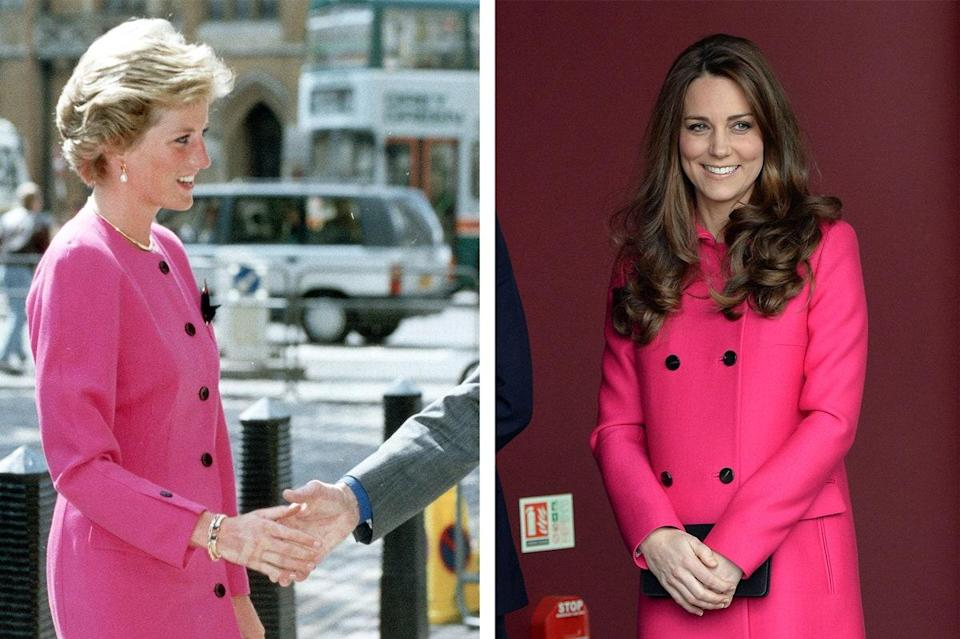 Princess Diana in 1990; Kate Middleton wearing Mulberry in 2015