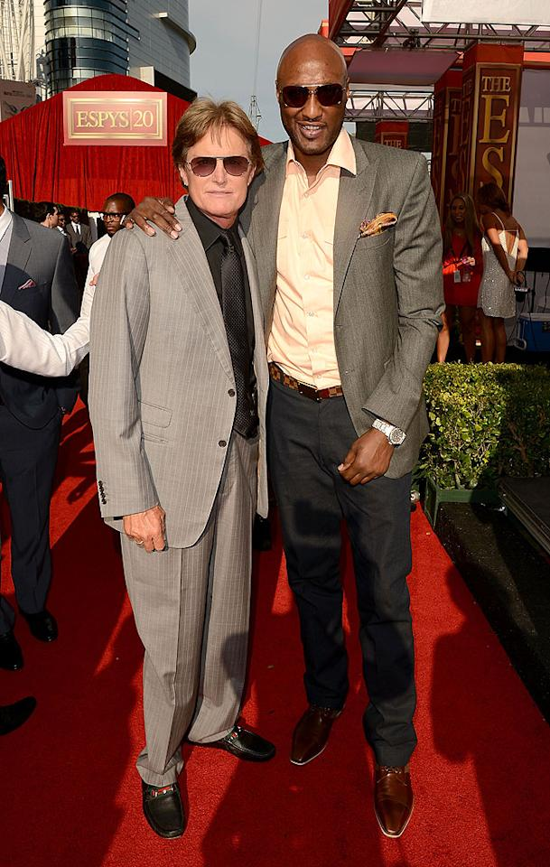 Athletes-turned-reality stars Bruce Jenner and Lamar Odom arrive at the 2012 ESPY Awards.