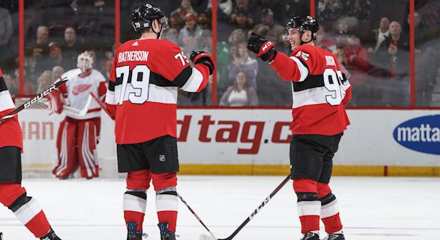Drake Batherson's reaction to the first goal of his NHL career was good. The reaction in the stands was better, though. (Getty)