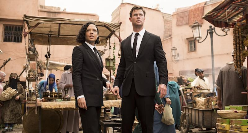 Agent M (Tessa Thompson) and Agent H (Chris Hemsworth) in Morocco in Columbia Pictures' MEN IN BLACK: INTERNATIONAL.