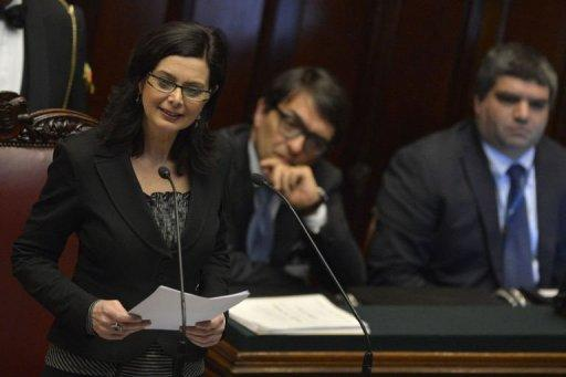 Laura Boldrini delivers a speech after being elected president of the Italian lower-house on March 16, 2013 in Rome