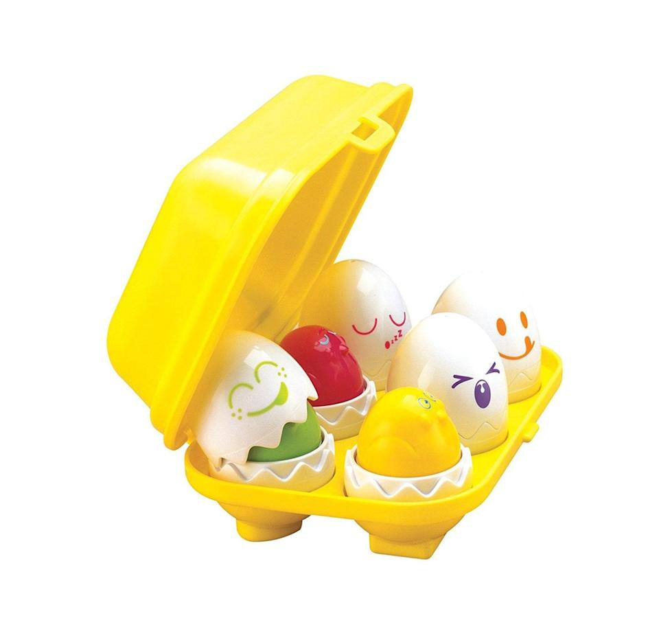 "<p>These <a href=""https://www.popsugar.com/buy/Tomy-Hide-amp-Squeak-Toy-Eggs-398640?p_name=Tomy%20Hide%20%26amp%3B%20Squeak%20Toy%20Eggs&retailer=walmart.com&pid=398640&price=12&evar1=moms%3Aus&evar9=25800161&evar98=https%3A%2F%2Fwww.popsugar.com%2Fphoto-gallery%2F25800161%2Fimage%2F44870123%2FTomy-Hide-Squeak-Eggs&list1=gifts%2Choliday%2Ctoys%2Cgift%20guide%2Cparenting%2Ctoddlers%2Clittle%20kids%2Ckid%20shopping%2Choliday%20for%20kids%2Cgifts%20for%20toddlers%2Cbest%20of%202019&prop13=api&pdata=1"" class=""link rapid-noclick-resp"" rel=""nofollow noopener"" target=""_blank"" data-ylk=""slk:Tomy Hide &amp; Squeak Toy Eggs"">Tomy Hide &amp; Squeak Toy Eggs</a> ($12) are great for your toddler. They hatch into chicks, make chirping sounds, and can be sorted into their container easily by your little one.</p>"