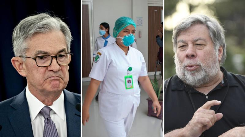 Jerome Powell on the left, a medical worker in the centre and Steve Wozniak on the right.