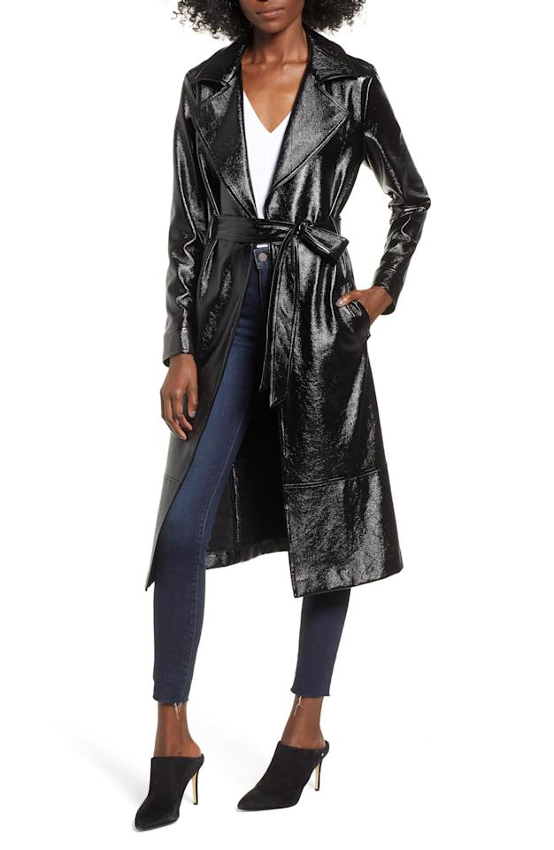 "<p>This <a href=""https://www.popsugar.com/buy/Leith-Faux-Patent-Leather-Trench-Coat-508556?p_name=Leith%20Faux%20Patent%20Leather%20Trench%20Coat&retailer=shop.nordstrom.com&pid=508556&price=149&evar1=fab%3Aus&evar9=45175105&evar98=https%3A%2F%2Fwww.popsugar.com%2Ffashion%2Fphoto-gallery%2F45175105%2Fimage%2F46824694%2FLeith-Faux-Patent-Leather-Trench-Coat&list1=shopping%2Cnordstrom%2Cfall%20fashion%2Ctrends%2Ccoats%2Cfall%2Ctrench%20coats&prop13=mobile&pdata=1"" rel=""nofollow"" data-shoppable-link=""1"" target=""_blank"" class=""ga-track"" data-ga-category=""Related"" data-ga-label=""https://shop.nordstrom.com/s/leith-faux-patent-leather-trench-coat/5001018?origin=keywordsearch-personalizedsort&amp;breadcrumb=Home%2FAll%20Results&amp;color=black"" data-ga-action=""In-Line Links"">Leith Faux Patent Leather Trench Coat</a> ($149) is straight out of the Matrix, in the best way possible.</p>"