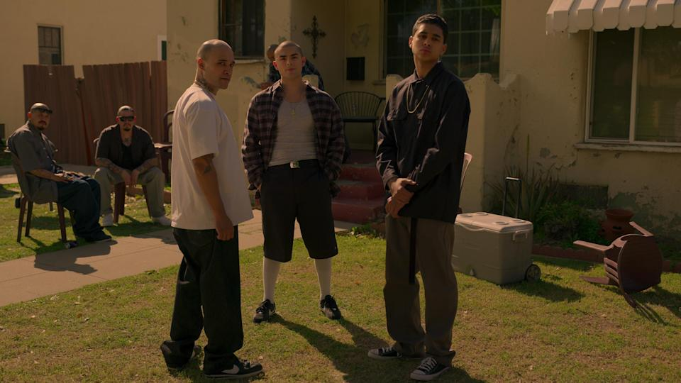 ON MY BLOCK (L to R) JOSHUA ARMANDO TICAS as JOKER and DIEGO TINOCO as CESAR DIAZ in episode 401 of ON MY BLOCK Cr. COURTESY OF NETFLIX © 2021