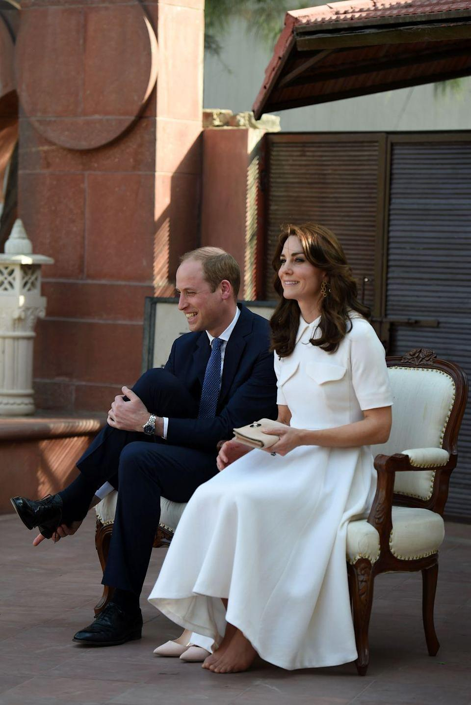 """<p>The internet was surprised to see that Kate isn't waited on hand a foot (yes, another pun). When Kate and William removed their shoes to <a href=""""http://footwearnews.com/2016/fashion/celebrity-style/kate-middleton-rupert-sanderson-pumps-pay-respects-gandhi-prince-william-india-210834/"""" rel=""""nofollow noopener"""" target=""""_blank"""" data-ylk=""""slk:pay respects to Indian leader"""" class=""""link rapid-noclick-resp"""">pay respects to Indian leader</a> Mohandas Gandhi, it was revealed that her <a href=""""http://www.dailymail.co.uk/femail/article-3533978/Duchess-Cambridge-reveals-pedicured-toes-India.html"""" rel=""""nofollow noopener"""" target=""""_blank"""" data-ylk=""""slk:toes weren't perfectly manicured"""" class=""""link rapid-noclick-resp"""">toes weren't perfectly manicured</a>—something that shocked royal-watchers.</p>"""