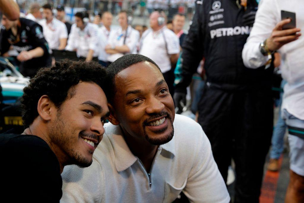 Will Smith and son Trey pose for a photo at the Abu Dhabi Formula One Grand Prix on Nov. 25, 2018, in Abu Dhabi. (Photo: LUCA BRUNO/AFP/Getty Images)
