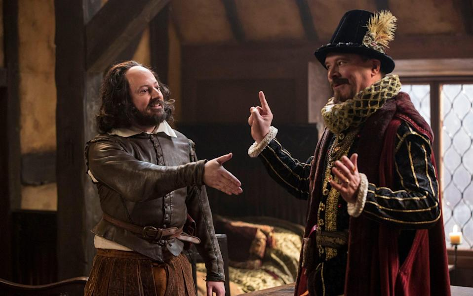 Upstart Crow, starring David Mitchell as William Shakespeare and Mark Heap as Robert Greene - BBC