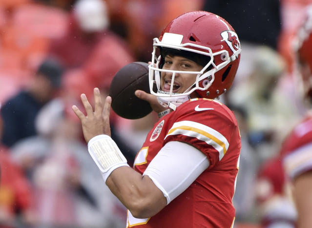Kansas City Chiefs quarterback Patrick Mahomes threw an interception for the first time this season, in the second quarter against Jacksonville on Sunday. (AP)