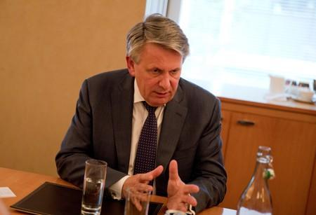 Ben Van Beurden, CEO of Shell, speaks to Reuters reporters in Canary Wharf