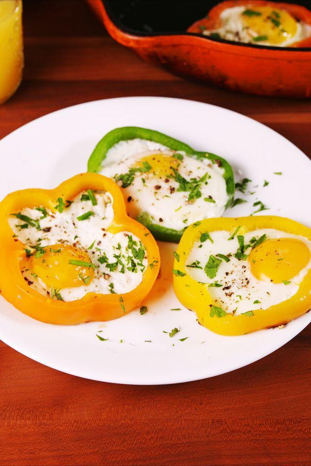 "<p>Up your egg in a hole game.</p><p>Get the recipe from <a rel=""nofollow"" href=""https://www.delish.com/cooking/recipe-ideas/a19425431/bell-pepper-eggs-recipe/"">Delish</a>.</p><p><a rel=""nofollow"" href=""https://www.amazon.com/Cuisinart-6422-24-Contour-Anodized-10-Inch/dp/B005H05T4A/"">BUY NOW</a> Nonstick Skillet, 6;40<br></p>"