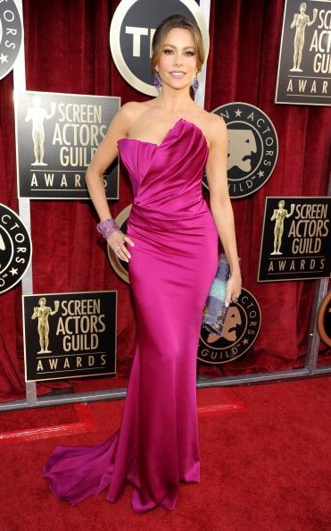 "<div class=""caption-credit""> Photo by: Getty Images</div><div class=""caption-title"">Red-pink at the SAG Awards</div>Vergara was luminous in a strapless, fuschia Marchesa gown at this year's Screen Actors Guild Awards, where she was nominated for Best Comedy Actress."