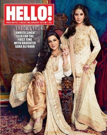 <p>The January 2012 edition of Hello magazine saw Amrita Singh grace the cover page after a long time. Not just that, the magazine added an element of surprise by featuring her daughter Sara Ali Khan for the first time. While Amrita looked classy in an Abu-Sandeep salwar kameez, Sara looked like a Royal princess in their creation. We definitely have a star in the making!</p>