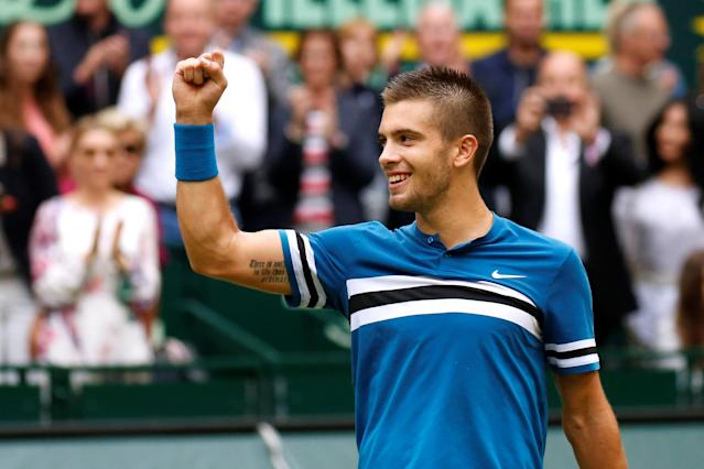 Tennis - ATP - Halle Open Finals - Gerry Weber Stadion, Halle, Germany - June 24, 2018 Croatia's Borna Coric celebrates winning the final against Switzerland's Roger Federer REUTERS/Leon Kuegeler