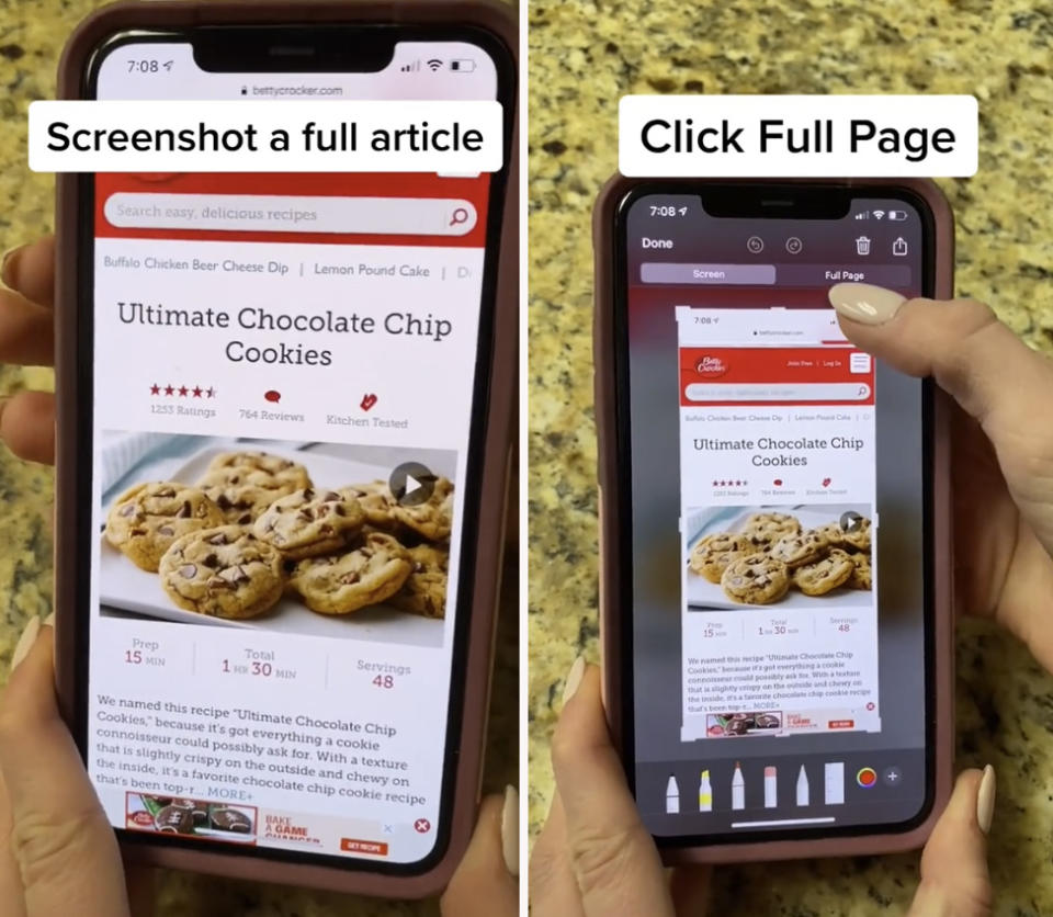 A TikTok user has blown minds after sharing a little known iPhone hack to allow users to screenshot a whole article. Photo: TikTok/@Ambre_skye