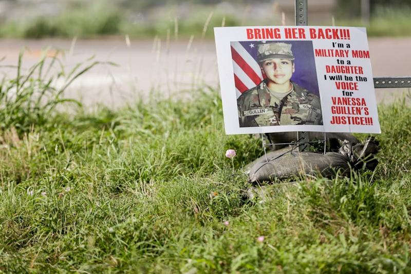 A sign pictures an image of Spc. Vanessa Guillen at the intersection of I-35 Frontage Road and Texas State Highway 195 toward Killeen on Thursday, July 2, 2020. Guillen was last seen in the parking lot on the Fort Hood base on April 22. Investigators found unidentified human remains on June 30 about 20 miles away from the base that are being analyzed several days before the suspect, Aaron David Robinson, 20, killed himself when confronted in Killeen by police officers and federal marshals. [BRONTE WITTPENN/AMERICAN-STATESMAN]
