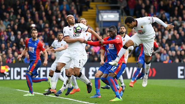 An own goal from Troy Deeney helped Crystal Palace to an important 1-0 win over Watford in the battle against Premier League relegation.