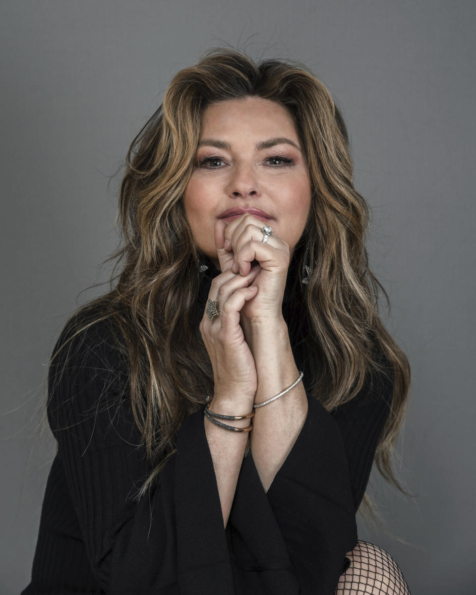 Shania Twain poses for a portrait at her Manhattan hotel, Friday, June 14, 2019, in New York. Twain will begin a new residency in Las Vegas at Zappos Theater at Planet Hollywood Resort & Casino, starting in December 2019. (Photo by Christopher Smith/Invision/AP)