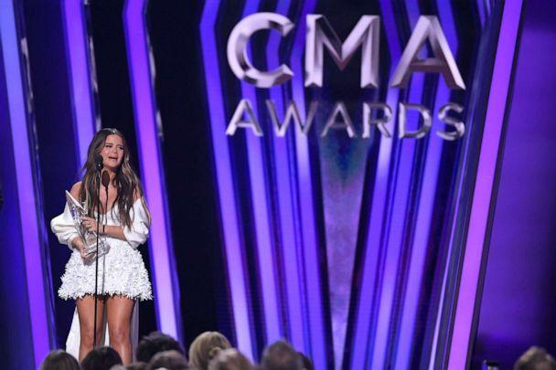 PHOTO: Maren Morris accepts the award for album of the year for 'Girl' at the 53rd annual CMA Awards at Bridgestone Arena, Wednesday, Nov. 13, 2019, in Nashville, Tenn. (Mark J. Terrill/AP)