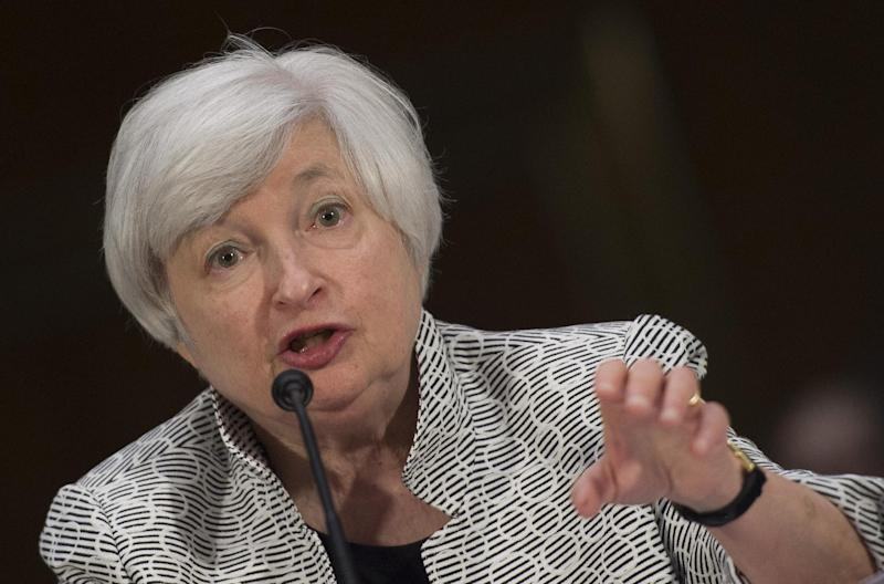 US Federal Reserve Chair Janet Yellen testifies before the Senate Banking Committee at Capitol Hill in Washington, DC, on July 15, 2014 (AFP Photo/Jim Watson)