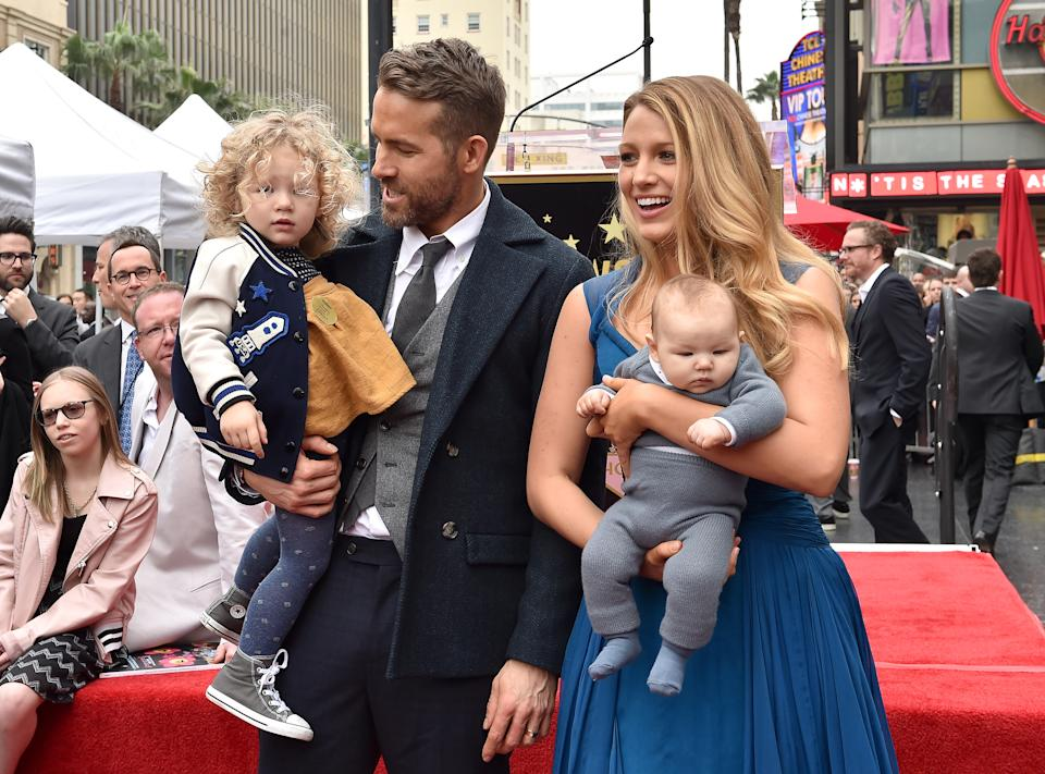 Ryan Reynolds and Blake Lively with daughters James Reynolds and Ines Reynolds attend the ceremony honoring Ryan Reynolds with a Star on the Hollywood Walk of Fame on December 15, 2016 in Hollywood, California. (Photo by Axelle/Bauer-Griffin/FilmMagic)