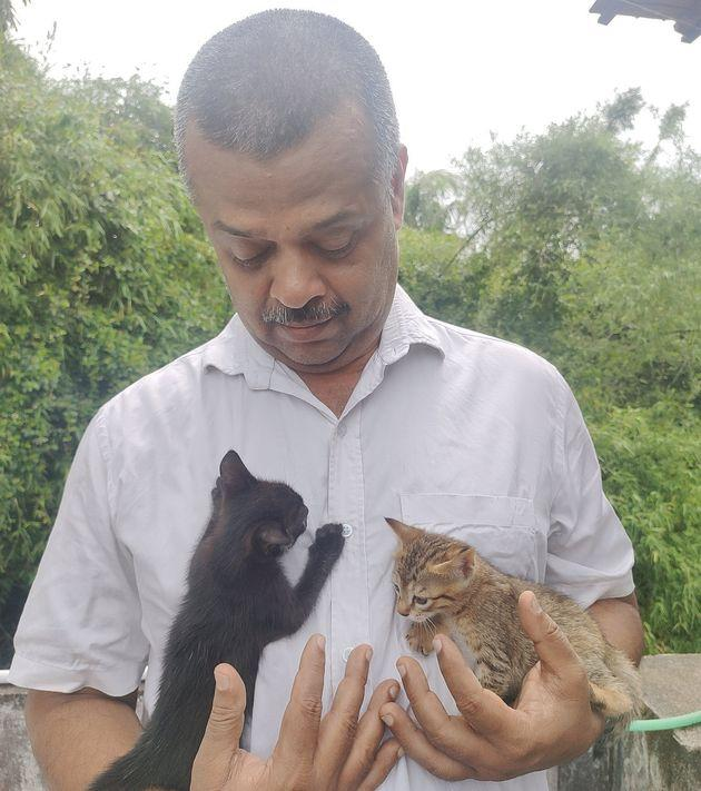 N Prakash and two of his kittens.