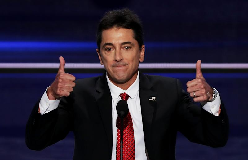 CLEVELAND, OH - JULY 18: Scott Baio gives two thumbs up during his speech on the first day of the Republican National Convention on July 18, 2016 at the Quicken Loans Arena in Cleveland, Ohio. An estimated 50,000 people are expected in Cleveland, including hundreds of protesters and members of the media. The four-day Republican National Convention kicks off on July 18. (Photo by Alex Wong/Getty Images)