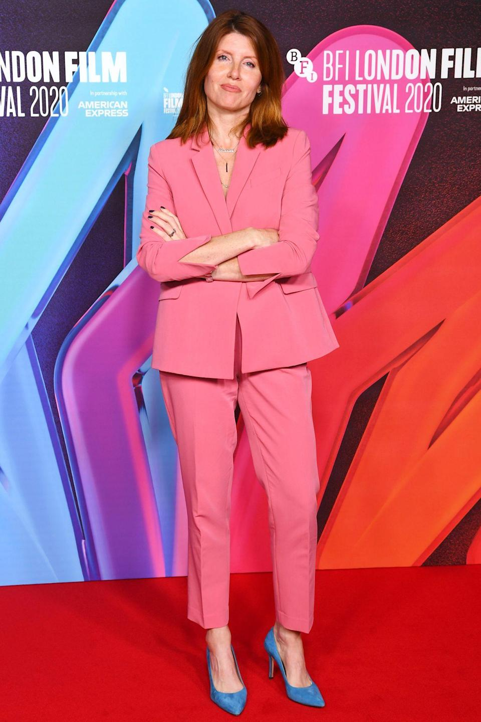 <p>Sharon Horgan steps out in a pink suit and at the <i>Herself</i> premiere during the 64th BFI London Film Festival on Thursday in London. </p>