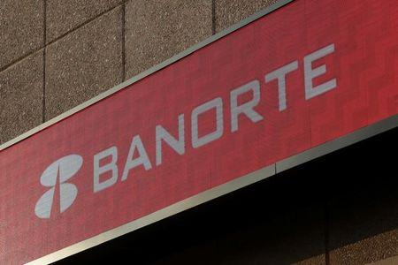 Sign of Banorte bank is pictured at its headquarters in Monterrey